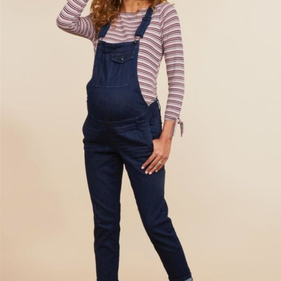 Destination Maternity Denim - Side Panel Skinny Leg Maternity Overalls